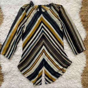 ZARA Chevron Sheer Shirtails Blouse XS